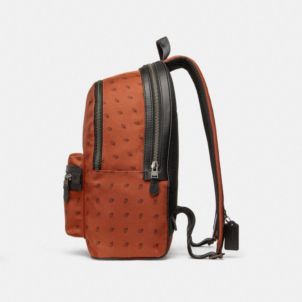 Coach Academy Backpack With Dot Diamond Print Alternate View 1