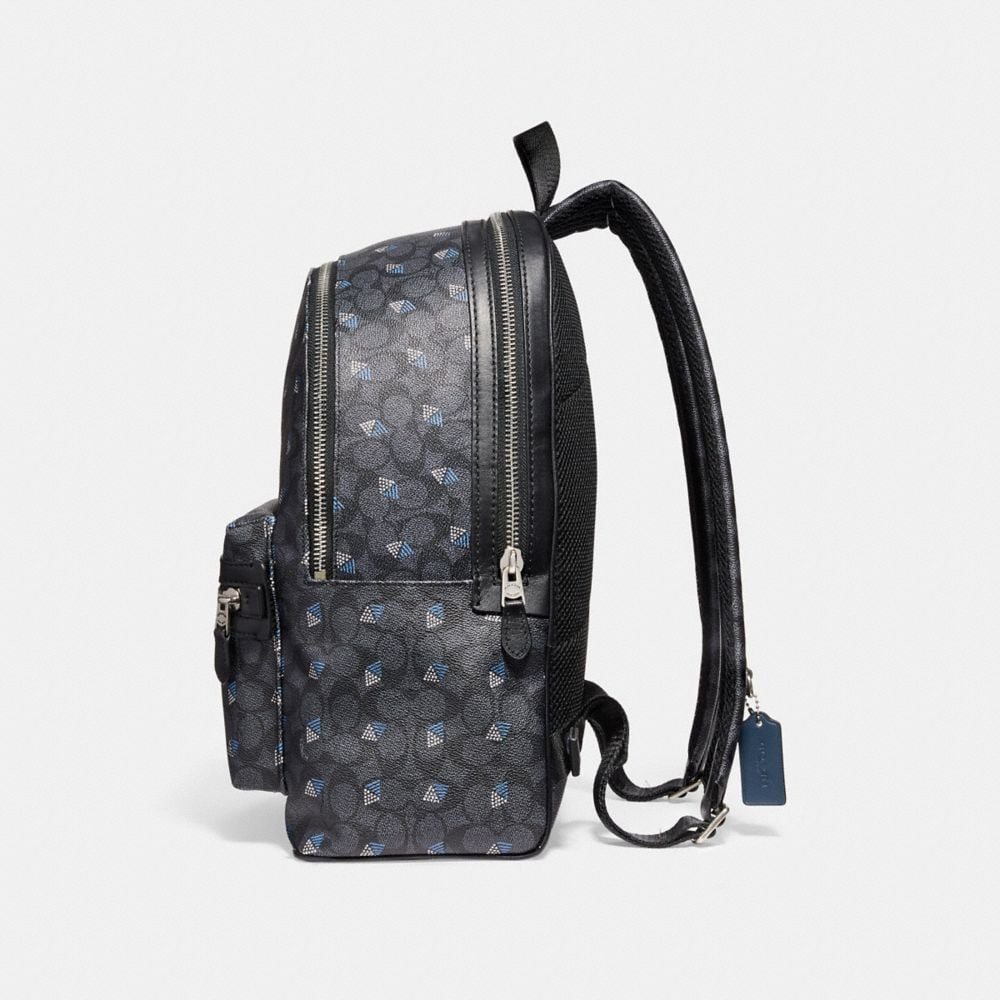 Coach Academy Backpack in Signature Canvas With Dot Diamond Print Alternate View 1