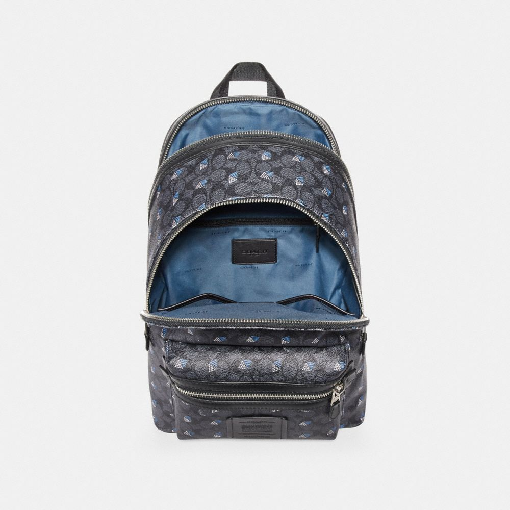 Coach Academy Backpack in Signature Canvas With Dot Diamond Print Alternate View 2