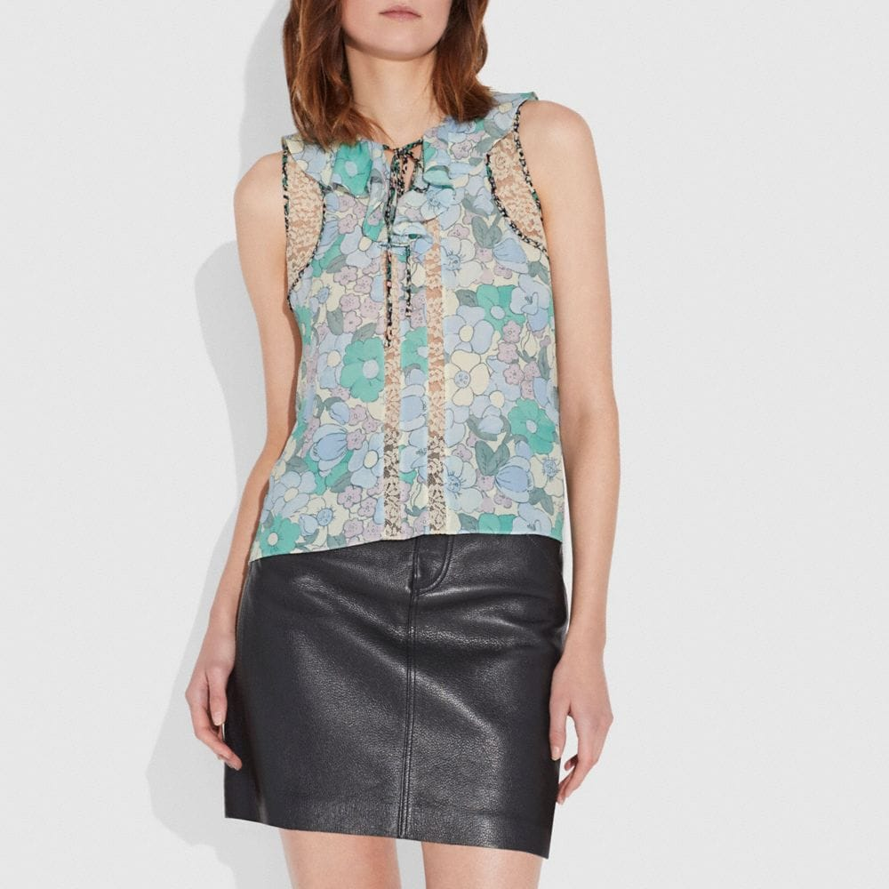 Coach Floral Button Print Frill Top