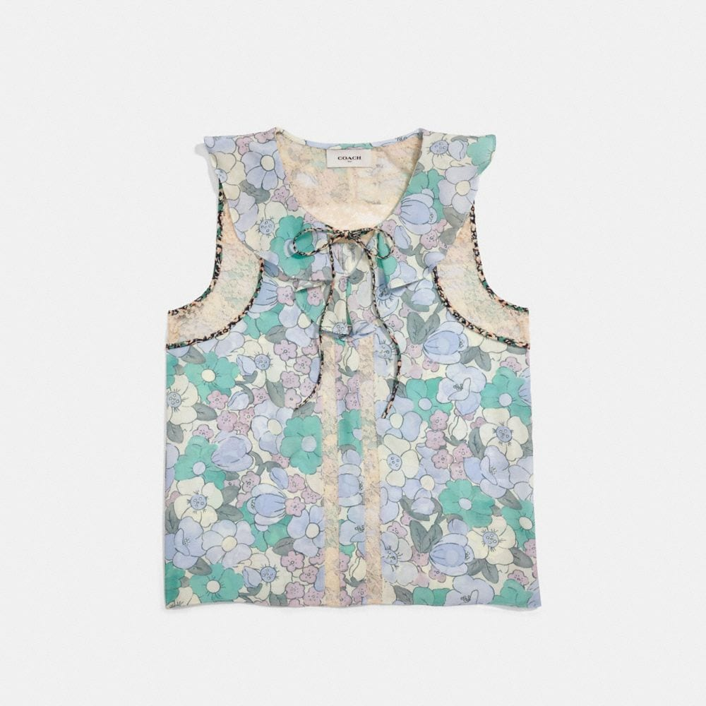 Coach Floral Button Print Frill Top Alternate View 1