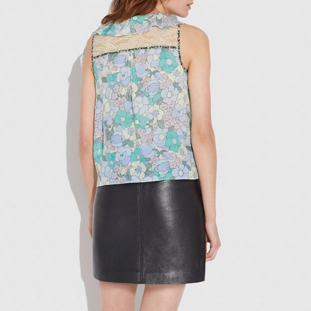 Coach Floral Button Print Frill Top Alternate View 2
