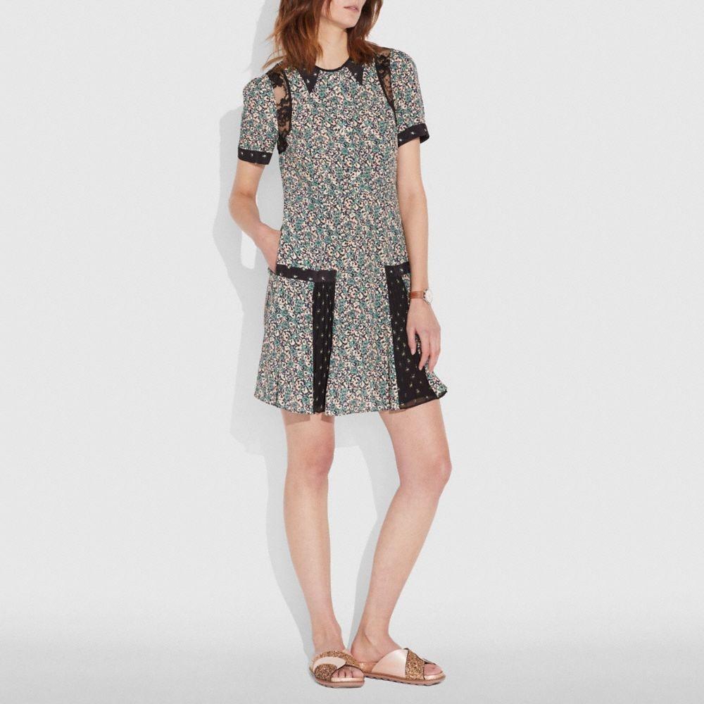 prairie blossom print pleated dress