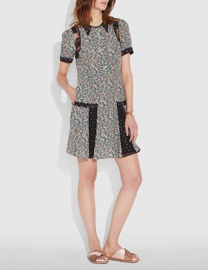 Coach Prairie Blossom Print Pleated Dress Green/Grey
