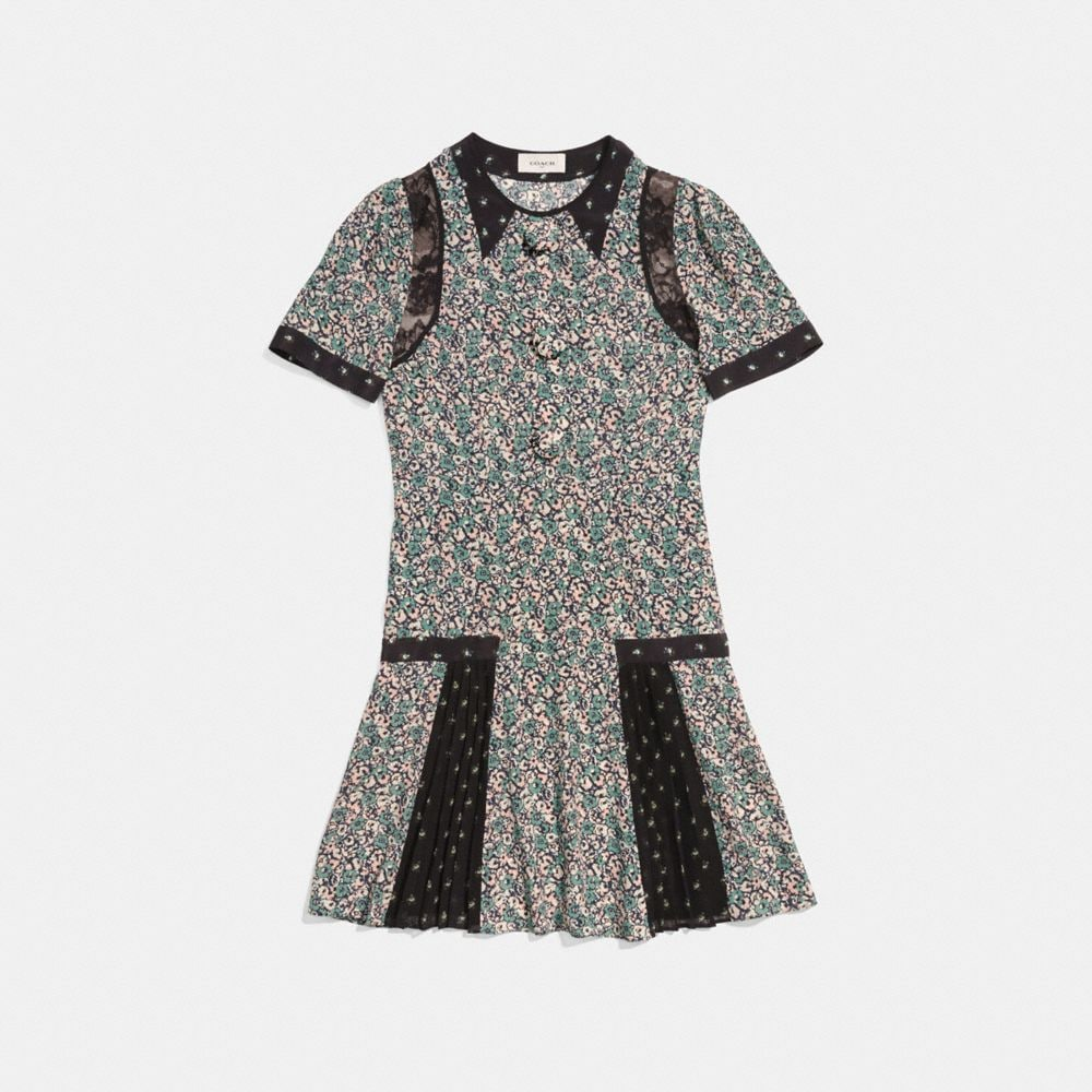 Coach Prairie Blossom Print Pleated Dress Alternate View 1