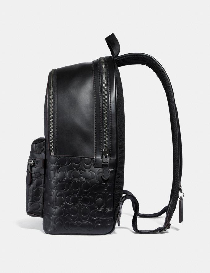 Coach Academy Backpack in Signature Leather Black/Black Antique Nickel Men Bags Backpacks Alternate View 1