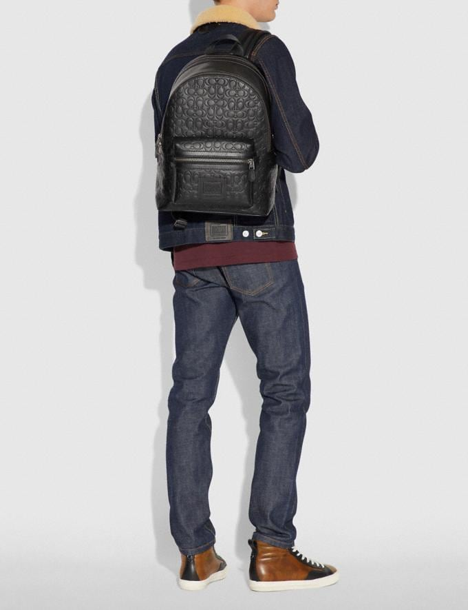Coach Academy Backpack in Signature Leather Black/Black Antique Nickel Men Bags Backpacks Alternate View 3