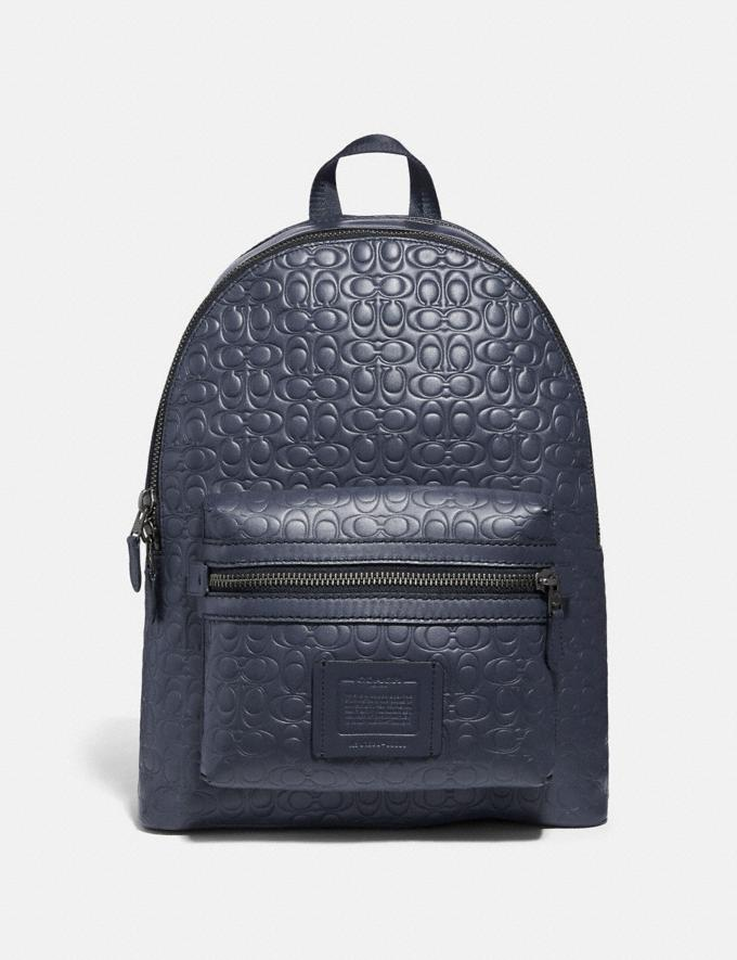 Coach Academy Backpack in Signature Leather Midnight Navy/Black Antique Nickel Men Bags Backpacks