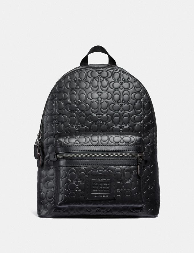 Coach Academy Backpack in Signature Leather Black/Black Antique Nickel Men Bags Backpacks