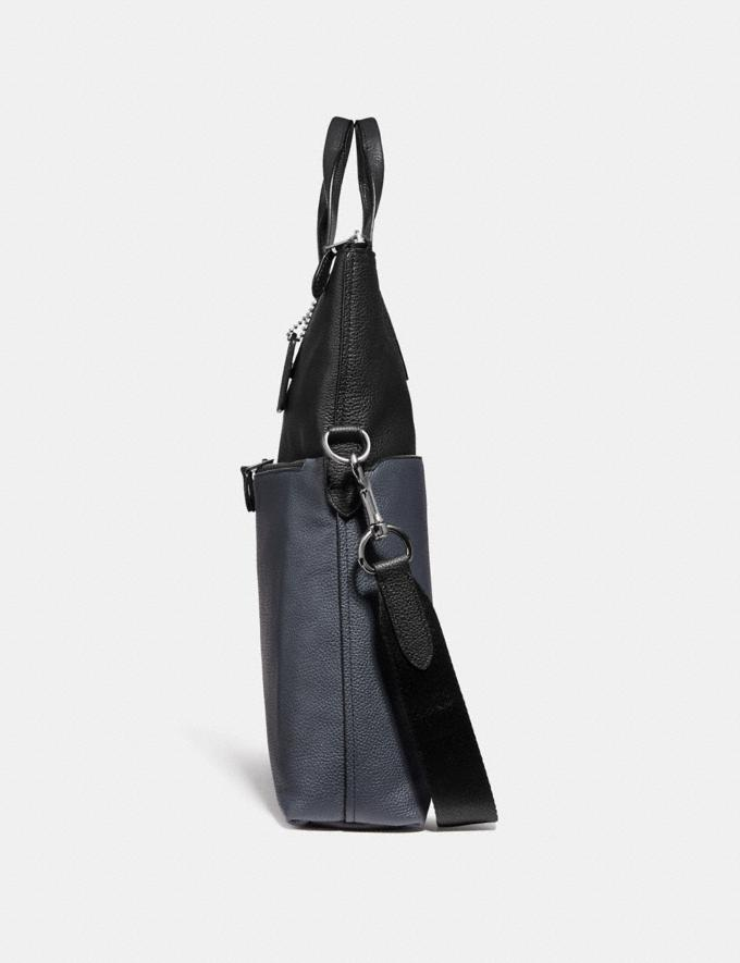 Coach Metropolitan Utility Tote in Colorblock Black Antique Nickel/Midnight Navy Black SALE Men's Sale Bags Alternate View 1