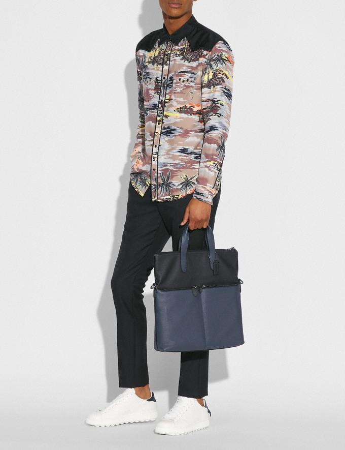 Coach Metropolitan Utility Tote in Colorblock Black Antique Nickel/Midnight Navy Black SALE Men's Sale Bags Alternate View 4
