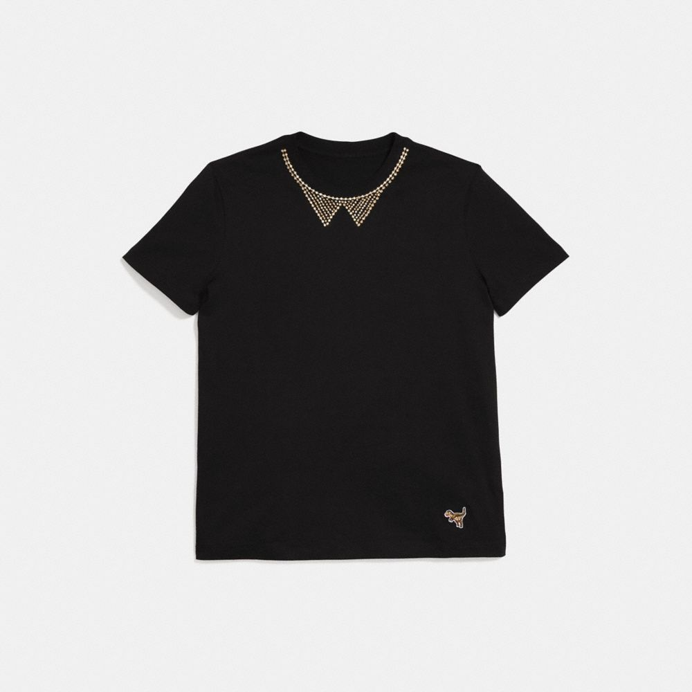 EMBELLISHED COLLAR T-SHIRT