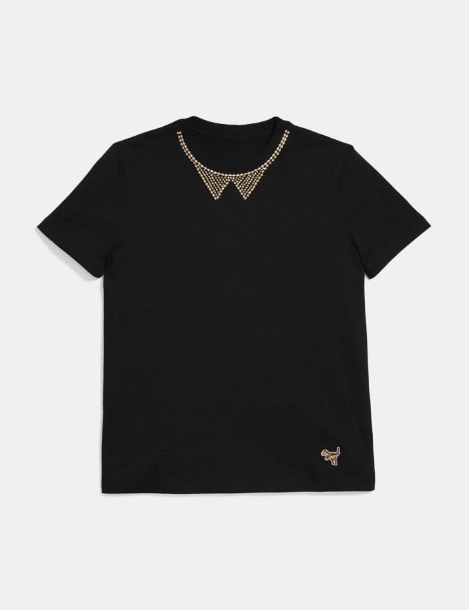 Coach Embellished Collar T-Shirt Dark Shadow