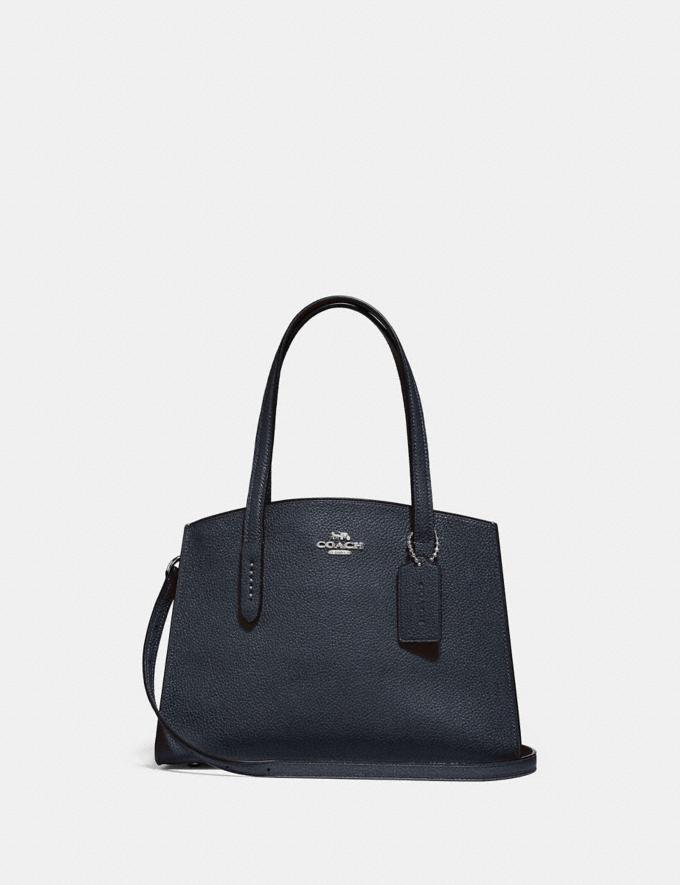Coach Charlie Carryall 28 Midnight Navy/Silver New Women's New Arrivals
