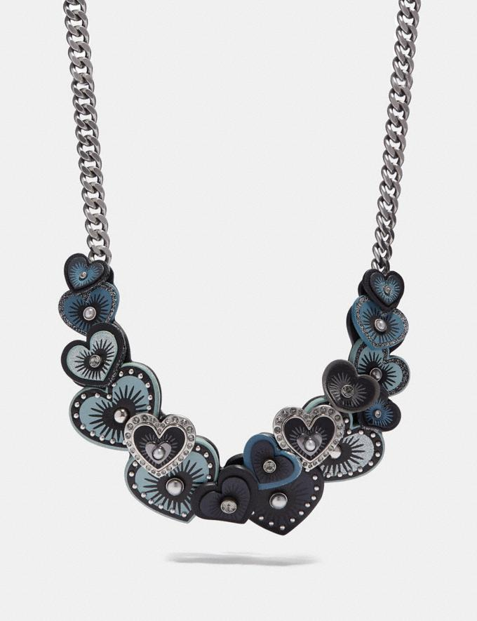 Coach Heart Necklace Midnight Navy Multi/Silver