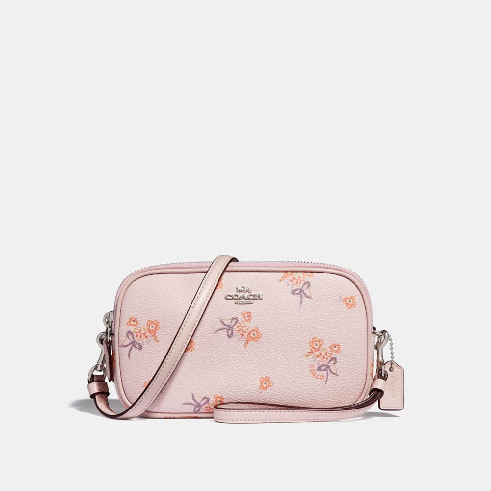 CROSSBODY CLUTCH WITH FLORAL BOW PRINT