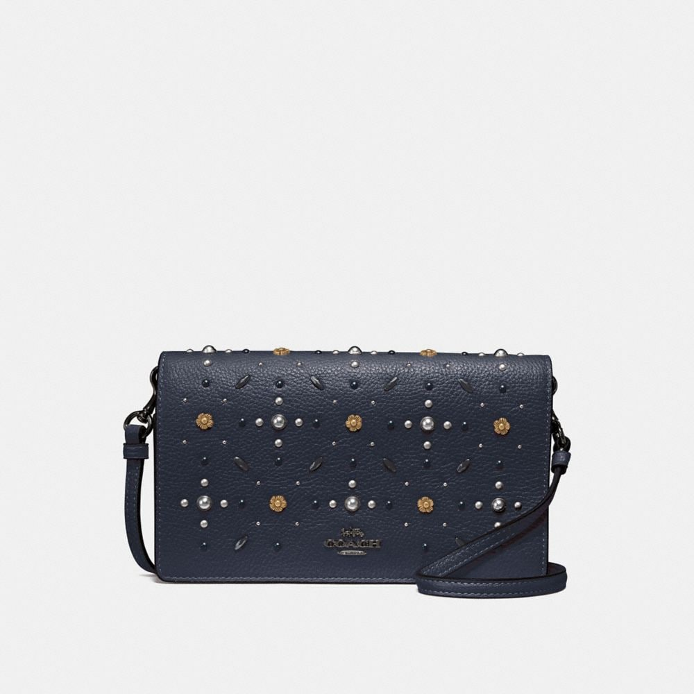 HAYDEN FOLDOVER CROSSBODY CLUTCH WITH PRAIRIE RIVETS