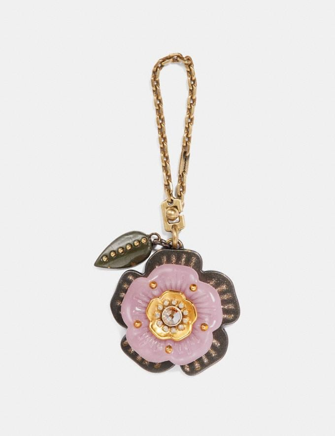 Coach Tea Rose Bag Charm Ice Purple/Gold SALE Women's Sale Accessories