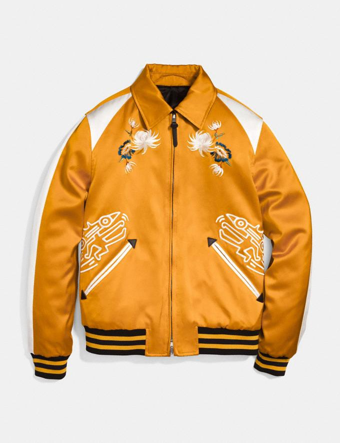 Coach Coach X Keith Haring Skater Souvenir Varsity Jacket Deep Clementine/Cream Men Ready-to-Wear Outerwear