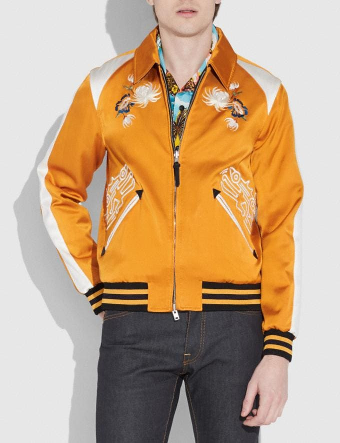 Coach Coach X Keith Haring Skater Souvenir Varsity Jacket Deep Clementine/Cream Men Ready-to-Wear Outerwear Alternate View 1