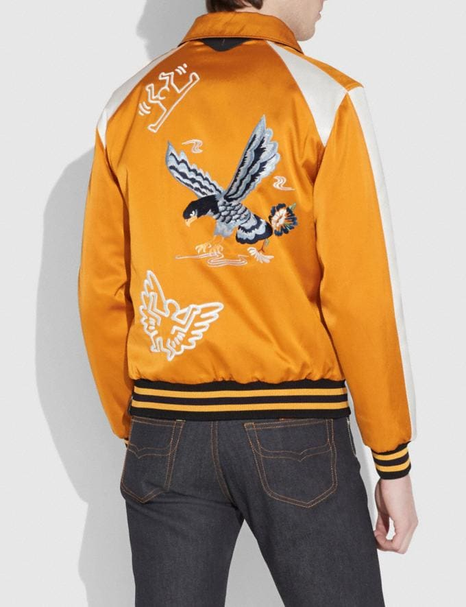 Coach Coach X Keith Haring Skater Souvenir Varsity Jacket Deep Clementine/Cream Men Ready-to-Wear Outerwear Alternate View 2