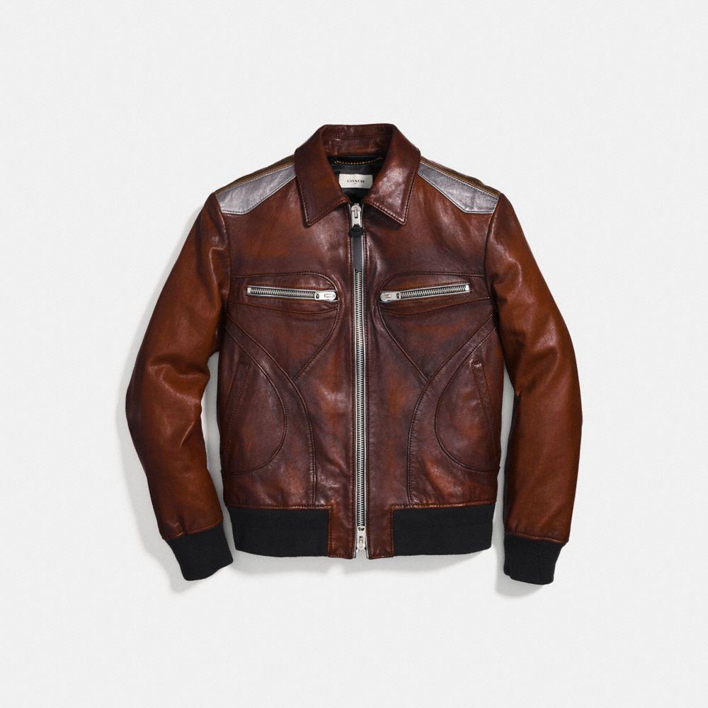 Coach Burnished Leather Pieced Bomber Jacket