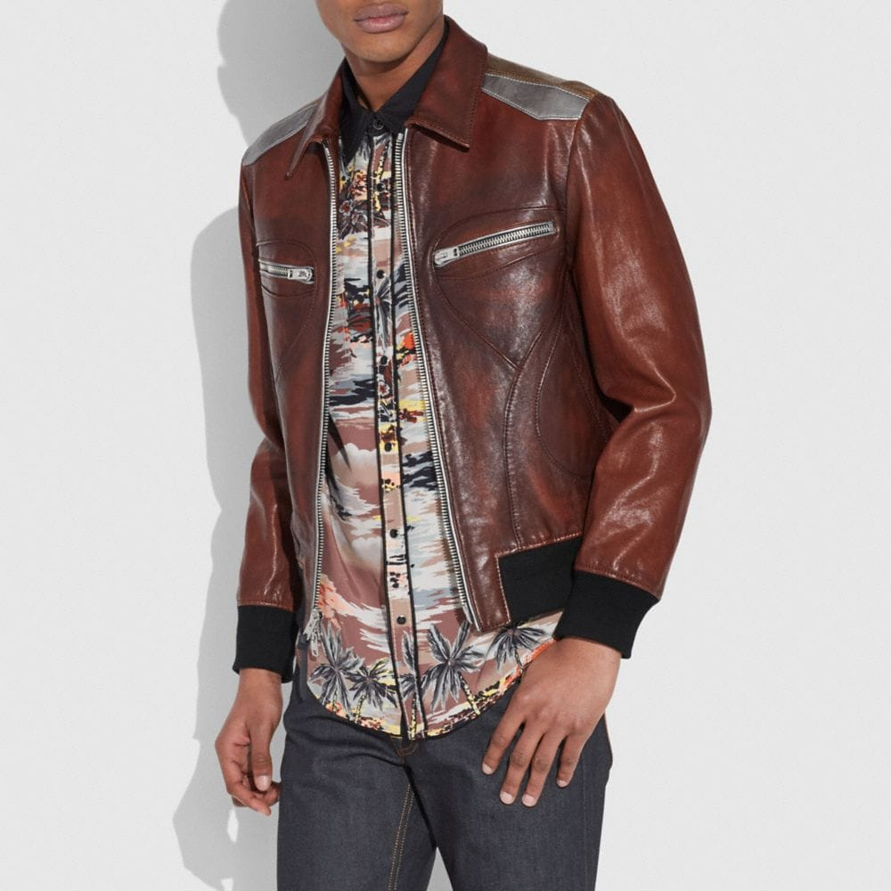 Coach Burnished Leather Pieced Bomber Jacket Alternate View 1