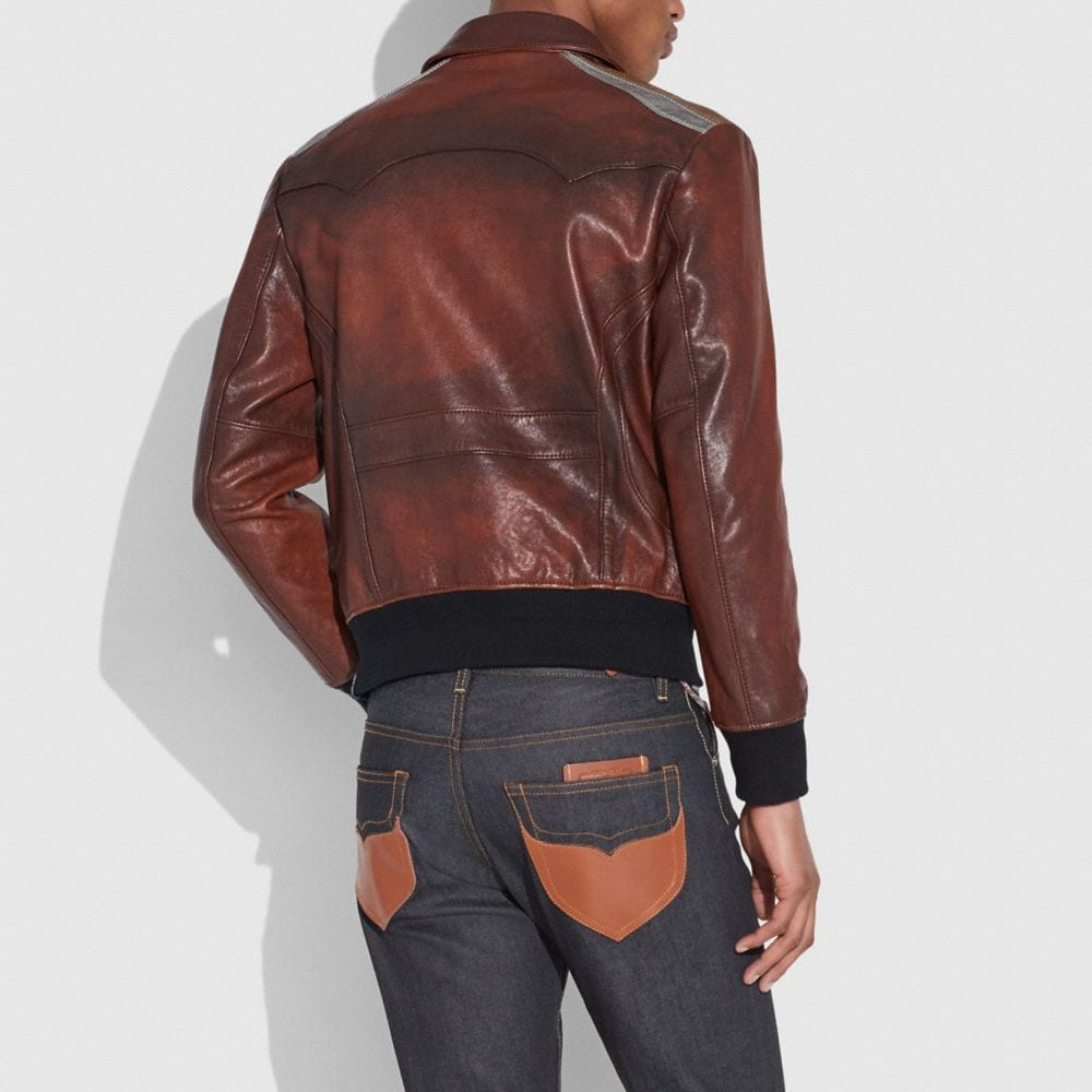 Coach Burnished Leather Pieced Bomber Jacket Alternate View 2