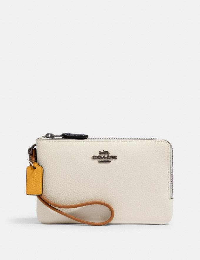 Coach Double Corner Zip Wristlet in Colorblock Qb/Chalk Multi