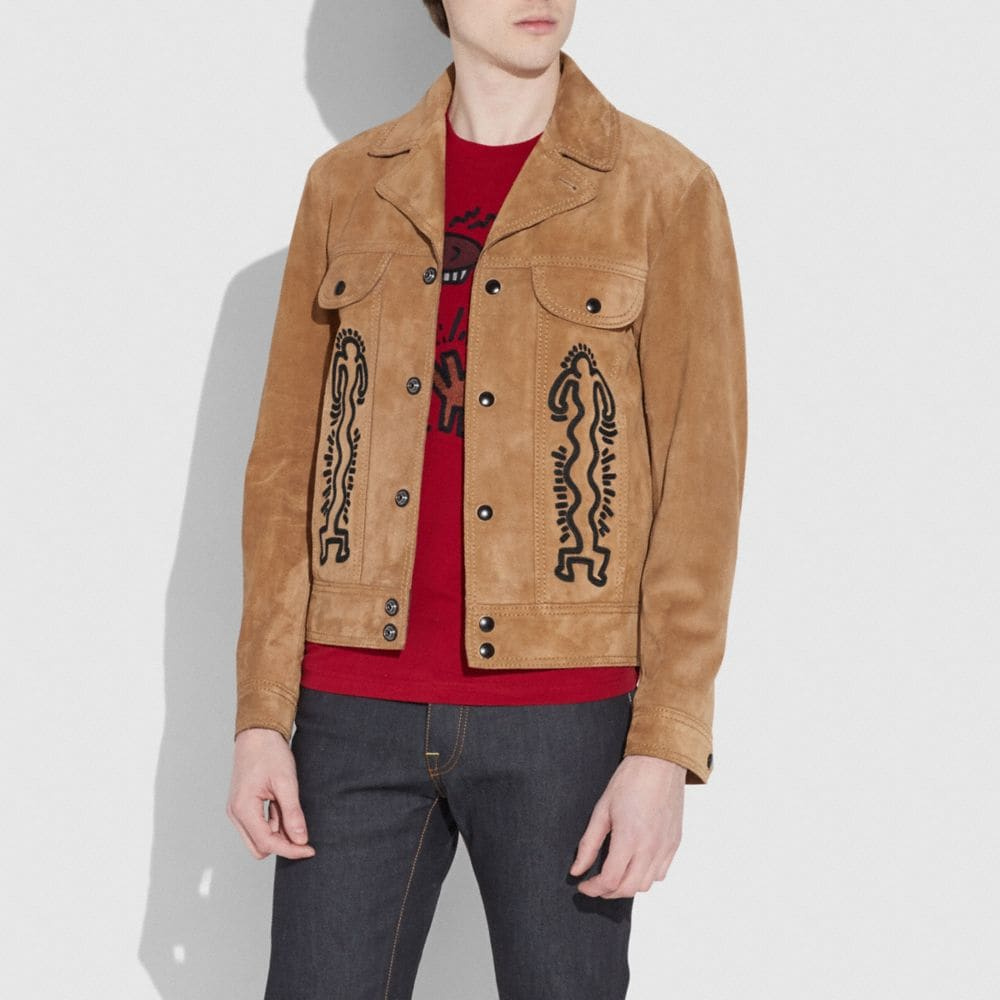 Coach Coach X Keith Haring Suede Jacket Alternate View 1