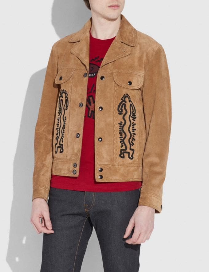 Coach Coach X Keith Haring Suede Jacket Sand  Alternate View 1