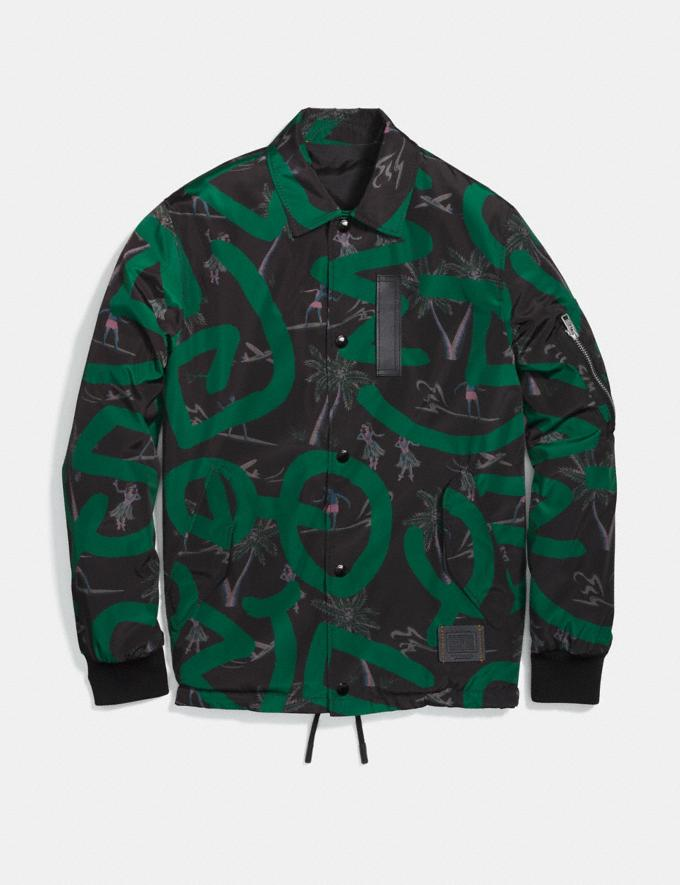 Coach Coach X Keith Haring Jacket Keith Haring Hula Dance Black Green Men Ready-to-Wear