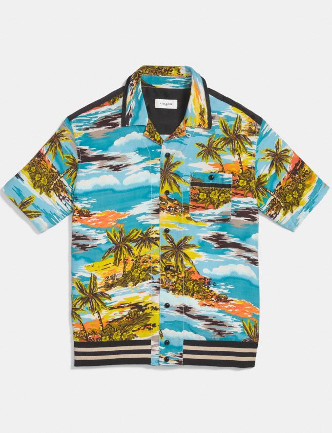 Coach Hawaiian Print Varsity Bowling Shirt Hawaiian Blue SALE Men's Sale Further Reductions Further Reductions