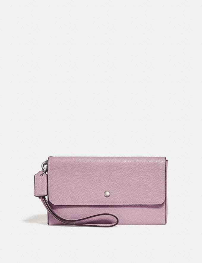 Coach Triple Small Wallet Ice Purple/Silver Personalise Personalise It Monogram For Her