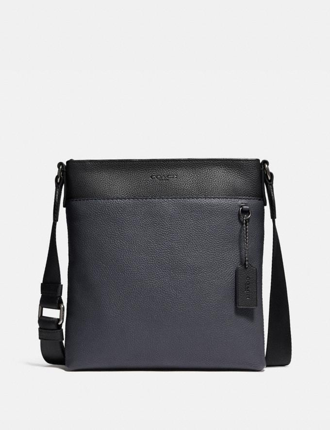 Coach Metropolitan Slim Messenger in Colorblock Black Antique Nickel/Midnight Navy Men Bags Messenger Bags
