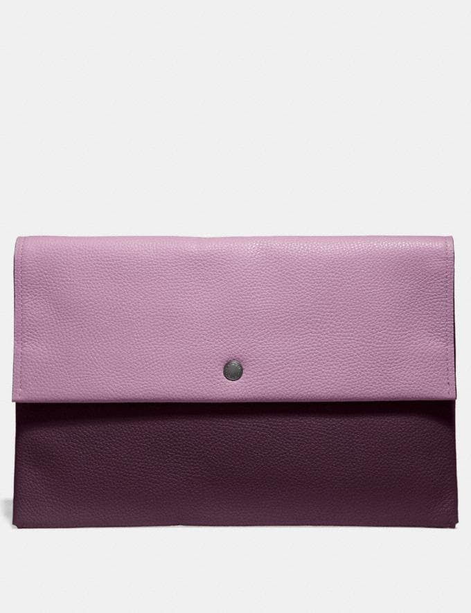 Coach Large Envelope Pouch in Colorblock Silver/Ice Pink Multi DEFAULT_CATEGORY