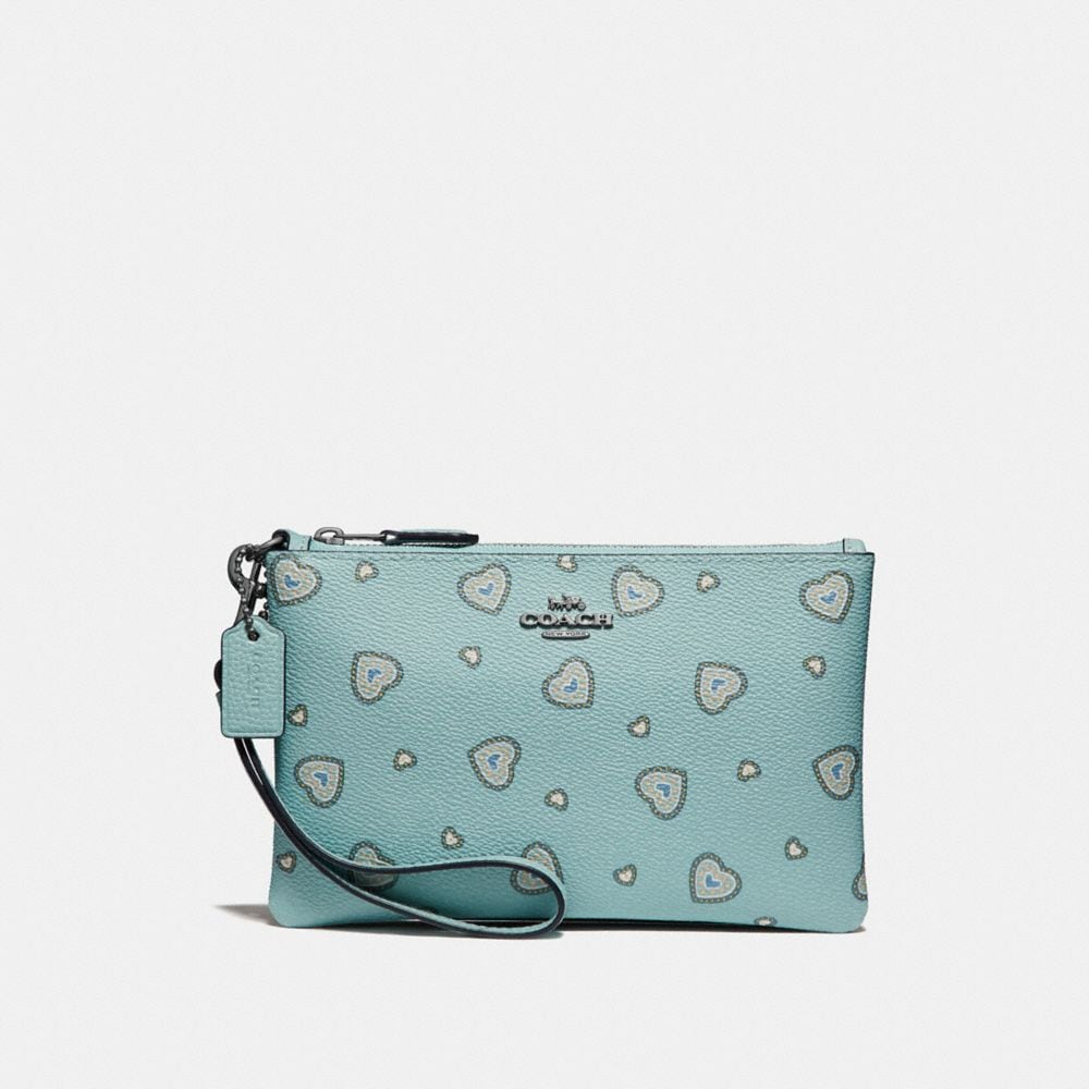 Coach Small Wristlet With Western Heart Print