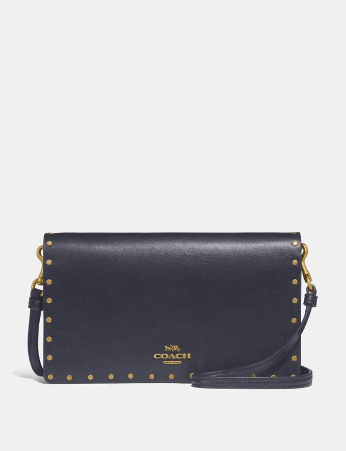 Coach Hayden Foldover Crossbody Clutch With Rivets Brass/Midnight Navy SALE Victoria Day Sale Women's