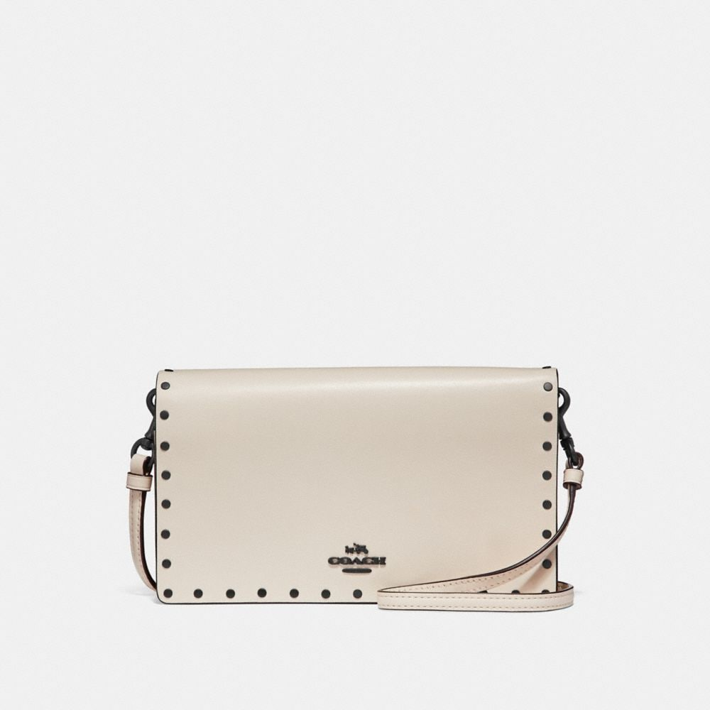 FOLDOVER CROSSBODY CLUTCH WITH RIVETS