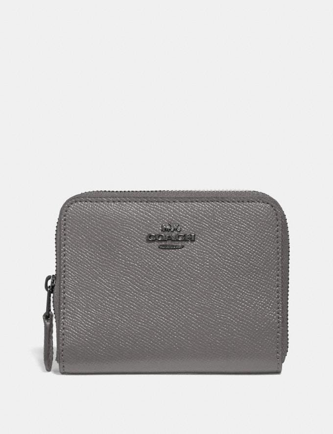 Coach Small Zip Around Wallet Heather Grey/Dark Gunmetal Gifts Holiday Shop Stocking Fillers For Her