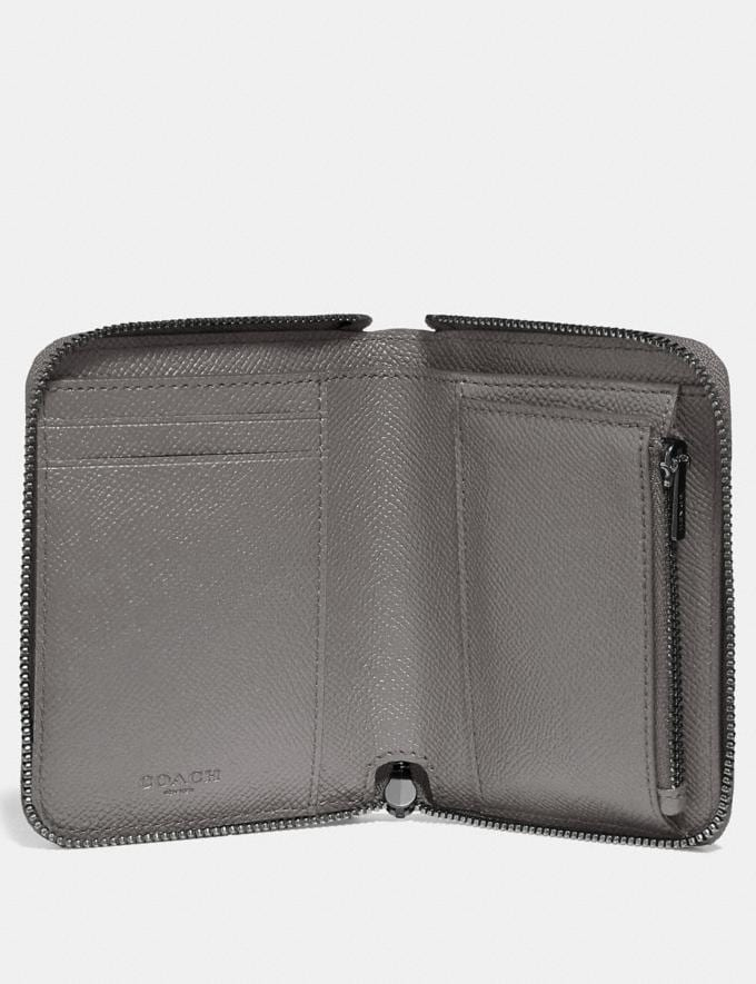 Coach Small Zip Around Wallet Heather Grey/Dark Gunmetal Gifts Holiday Shop Stocking Fillers For Her Alternate View 1