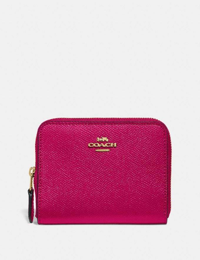 Coach Small Zip Around Wallet Bright Cherry/Gold
