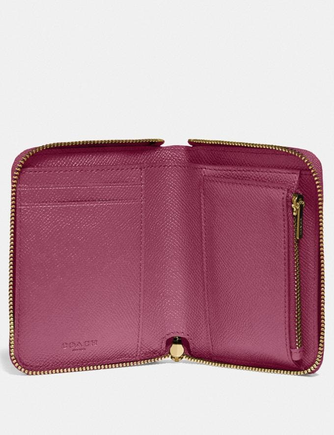 Coach Small Zip Around Wallet Gd/Dusty Pink Gifts Holiday Shop Stocking Fillers For Her Alternate View 1