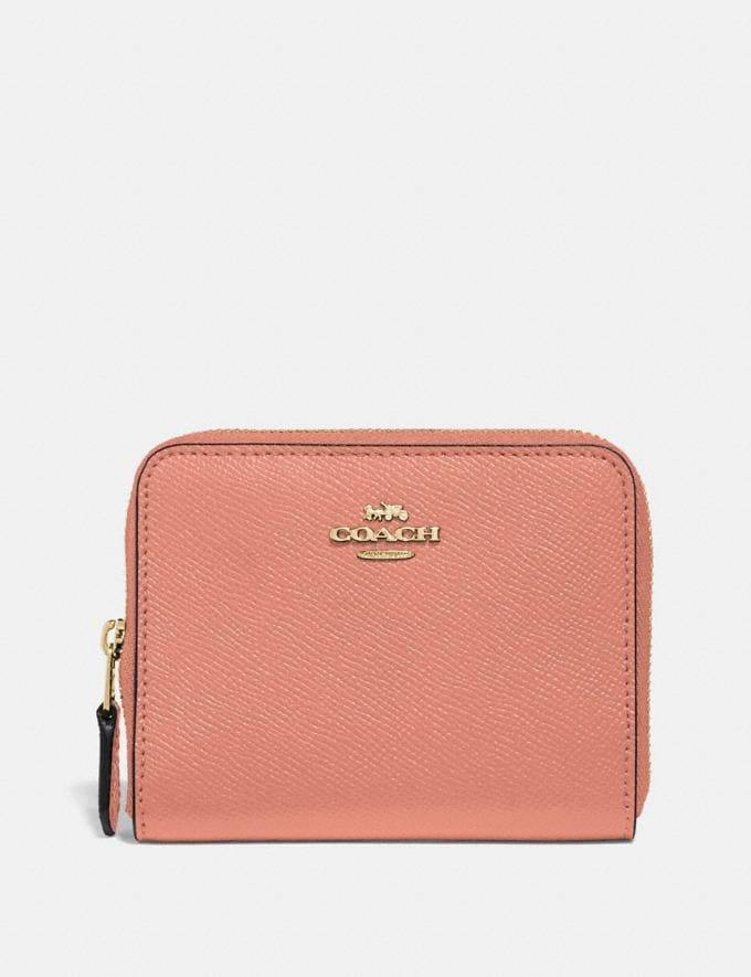 Coach Small Zip Around Wallet Light Peach/Gold Women Accessories Tech & Work