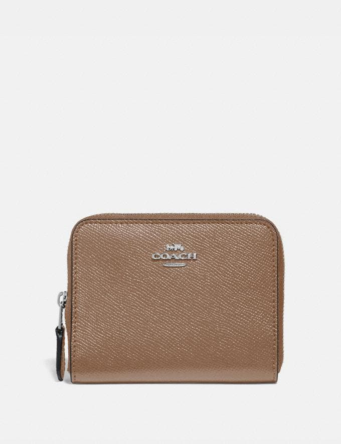 Coach Small Zip Around Wallet Light Nickel/Taupe Gifts For Her Under $100