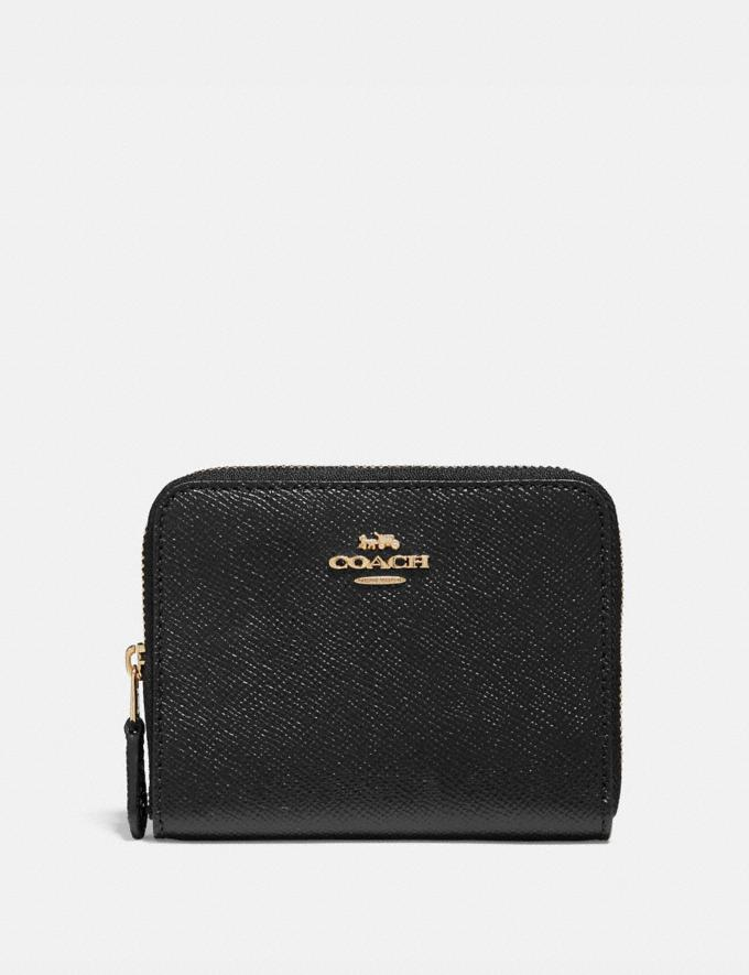 Coach Small Zip Around Wallet Black/Light Gold New Women's New Arrivals Wallets & Wristlets