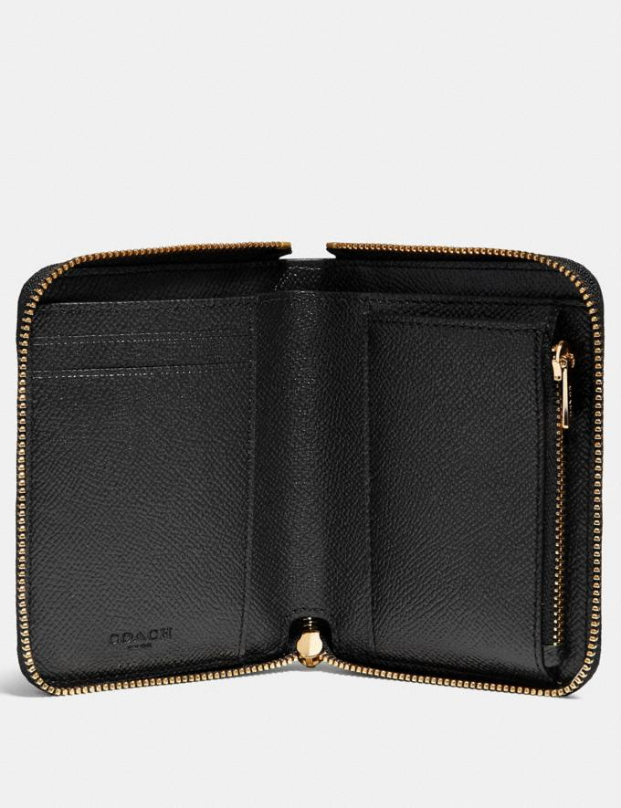 Coach Small Zip Around Wallet Black/Light Gold Gifts For Her Bestsellers Alternate View 1