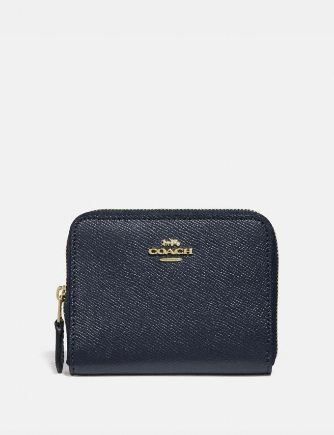 Coach Small Zip Around Wallet Li/Navy Women Small Leather Goods Small Wallets