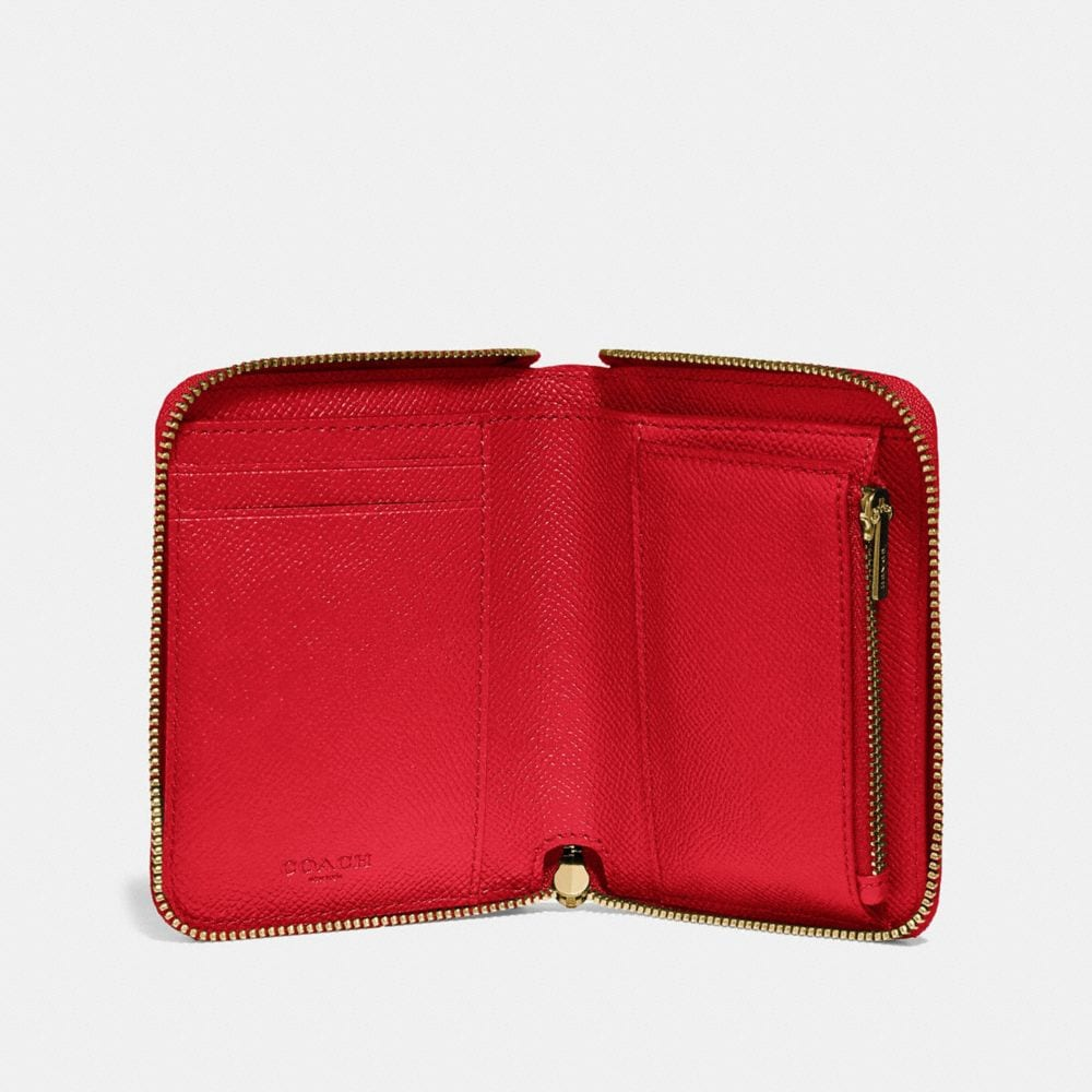 Coach Small Zip Around Wallet in Crossgrain Leather Alternate View 1