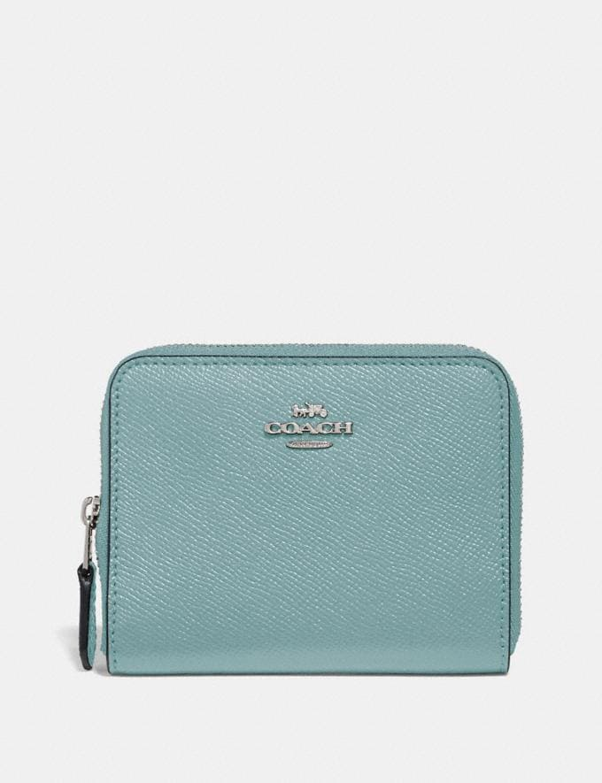 Coach Small Zip Around Wallet Sage/Silver New Women's New Arrivals Wallets & Wristlets